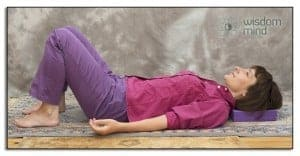 Mindfulness position lying on the floor