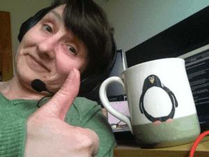 Talking Mindfully (Annya holding Penguin mug)
