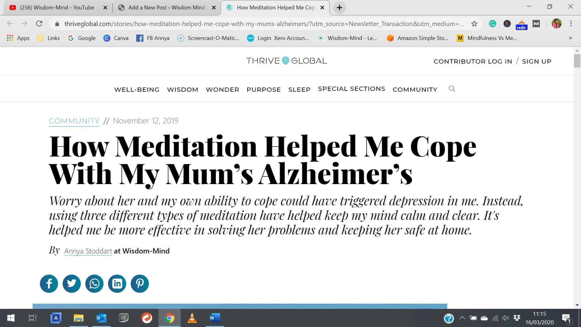 How meditation helped me cope with Mum's Alzheimer's
